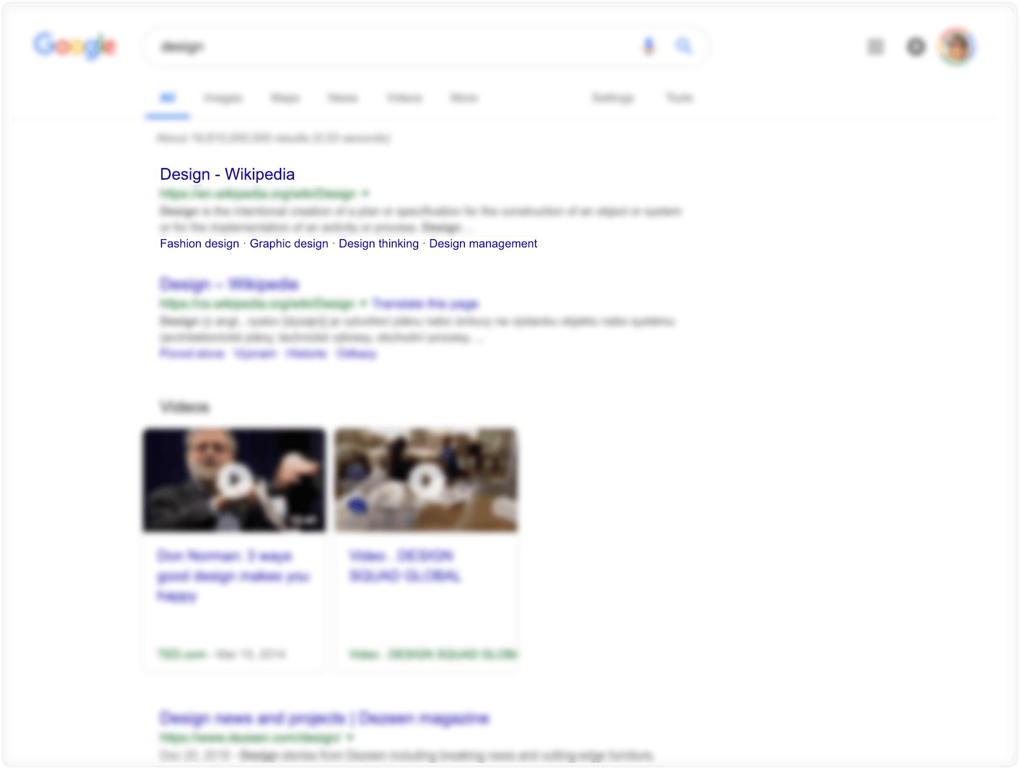 Odkaz na výsledek vyhledávání na Google, včetně doplňujících odkazů
