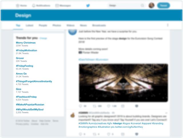 Odkazy na Twitter - v rámci tweetu, ale také na hashtagy či populární témata
