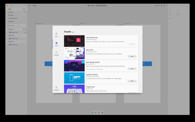 Seznam pluginů v Invision Studio