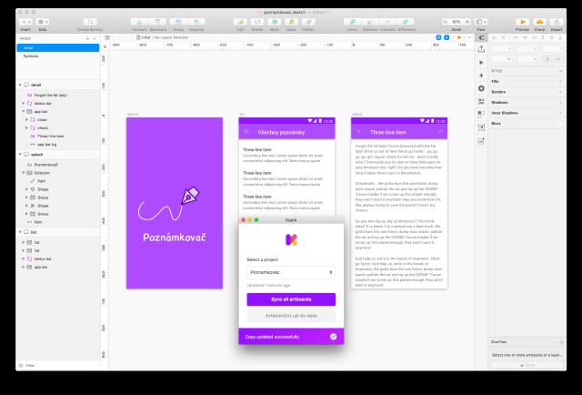 Propojení Sketch s nástrojem Kopie.io pomocí pluginu