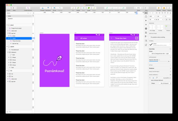Nastavení symbolu v aplikaci Sketch