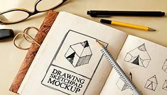 mockup-файлы скетчбуков, тетрадок и блокнотов