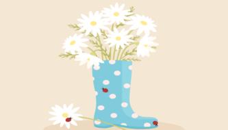 Рисуем милый резиновый сапог с ромашками в Adobe Illustrator