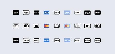 Логотипы кредитных карт в 9 стилях eps png