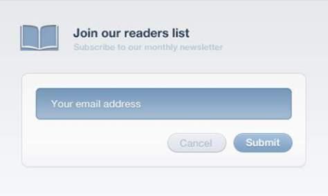 Интерфейс формы подписки на рассылку