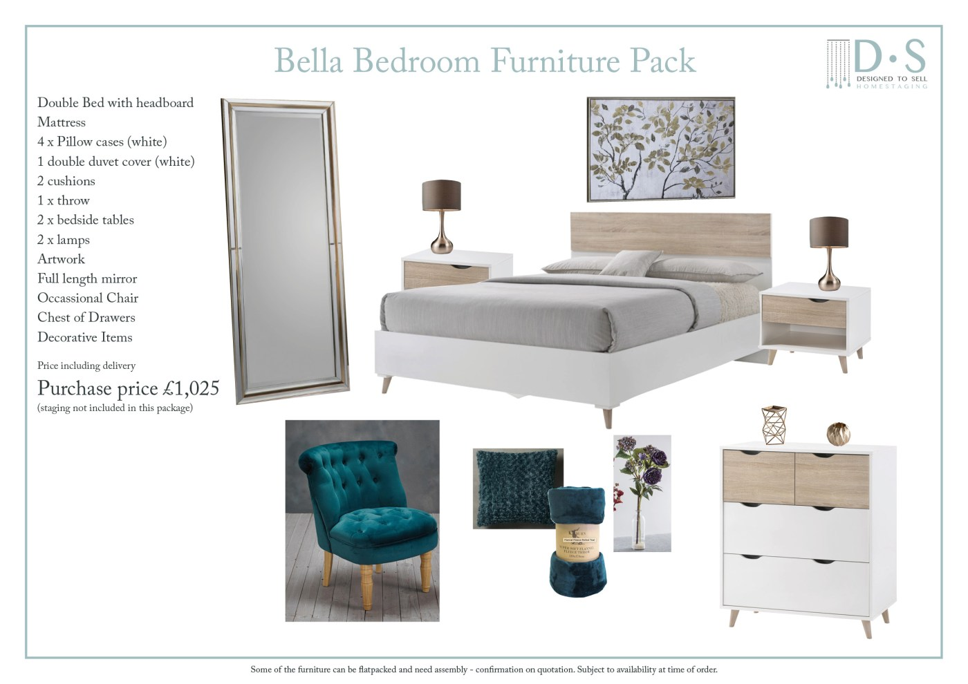 Bella Full Staging Furniture Pack - Bedroom