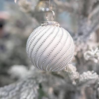 The Noel Collection White Jewel Swirl Large Bauble