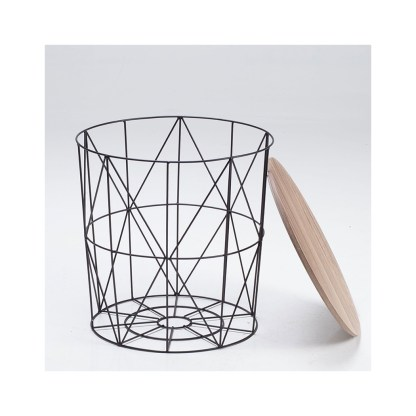 Cosmo Black Cage Table With Oak Finish Top