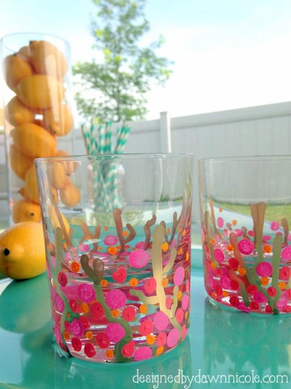 DIY Coral Reef Confetti Glasses