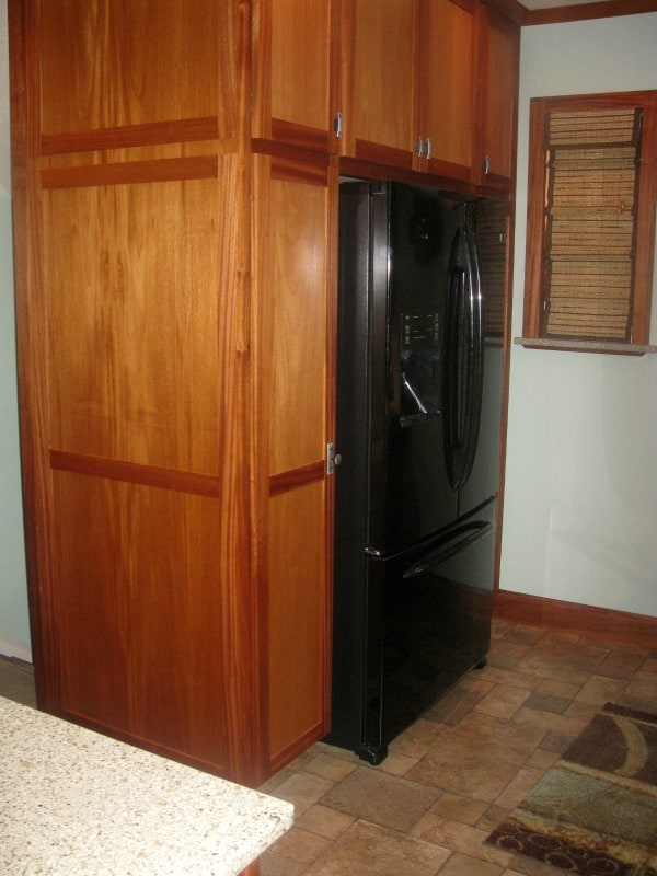 Custom built refrigerator cabinets