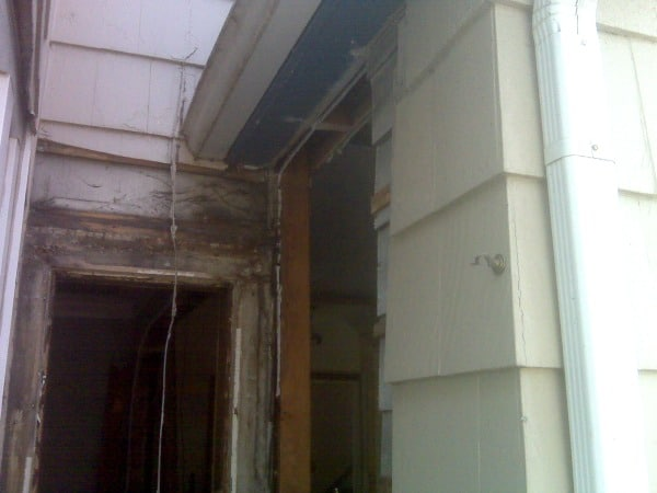Outside wall for double oven.