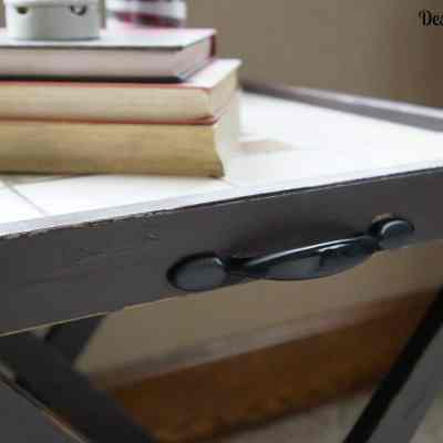 Repurposed Folding Accent Table / Serving Tray/ Luggage Rack