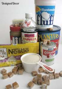 ingredients for snickers fudge