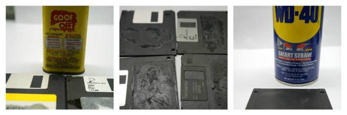Removing labels from floppy disks
