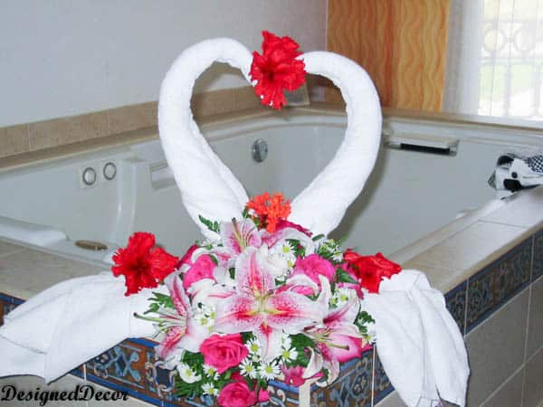 Wedding- Flowers and a Swan Towel