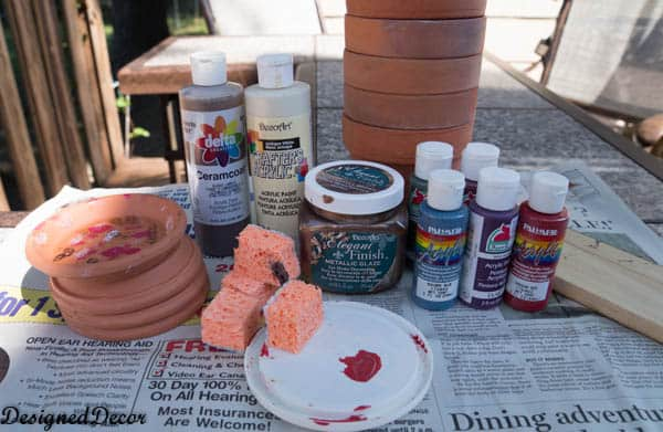 supplies for painting flower clay pot