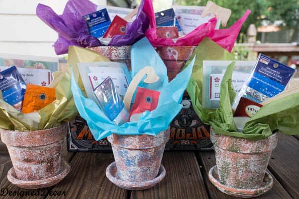 sponge painting flower clay pots-9