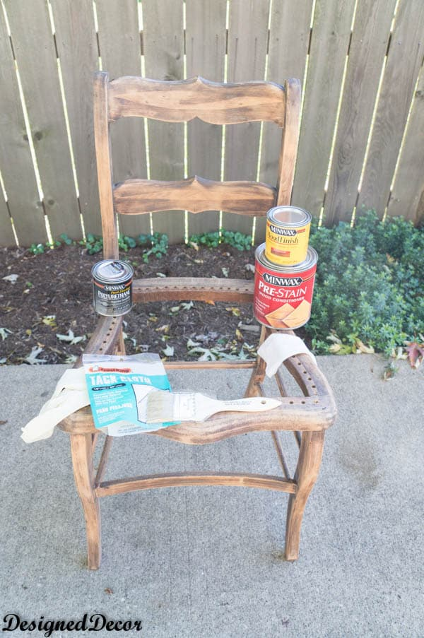 staining repurposed Wood accent Chairs
