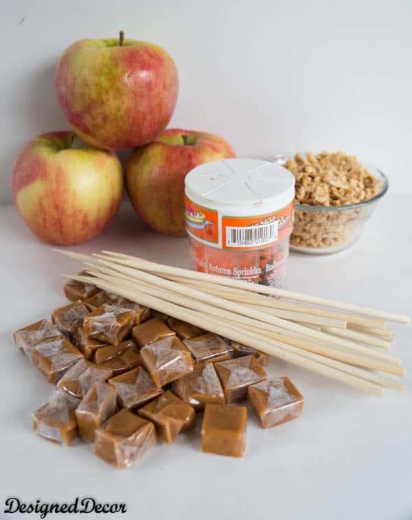 ingredients for homemade caramel apples