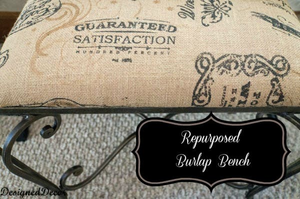 burlap metal bench