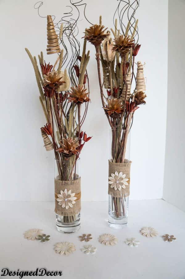 Burlap Vases Designed Decor