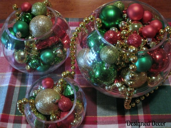 Christmas Table Decoration using glass bowls