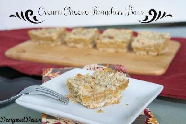 Cream Cheese Pumpkin Bars- www.designeddecor.com