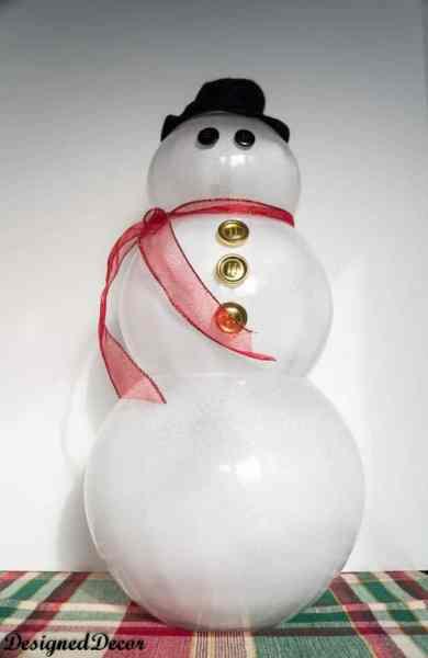 Glass Bowl Snowman Table Decoration