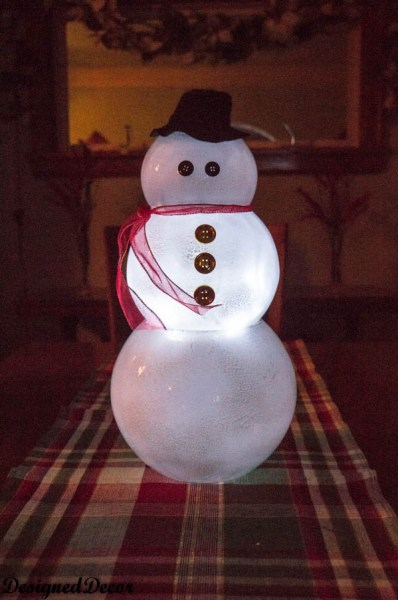 Lighted Glass Bowl Snowman