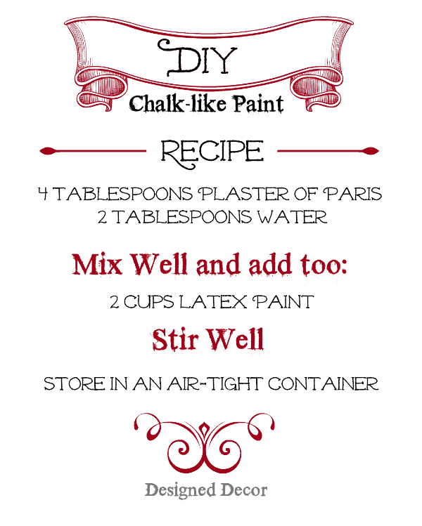 chalk-like paint recipe - www.designeddecor.com