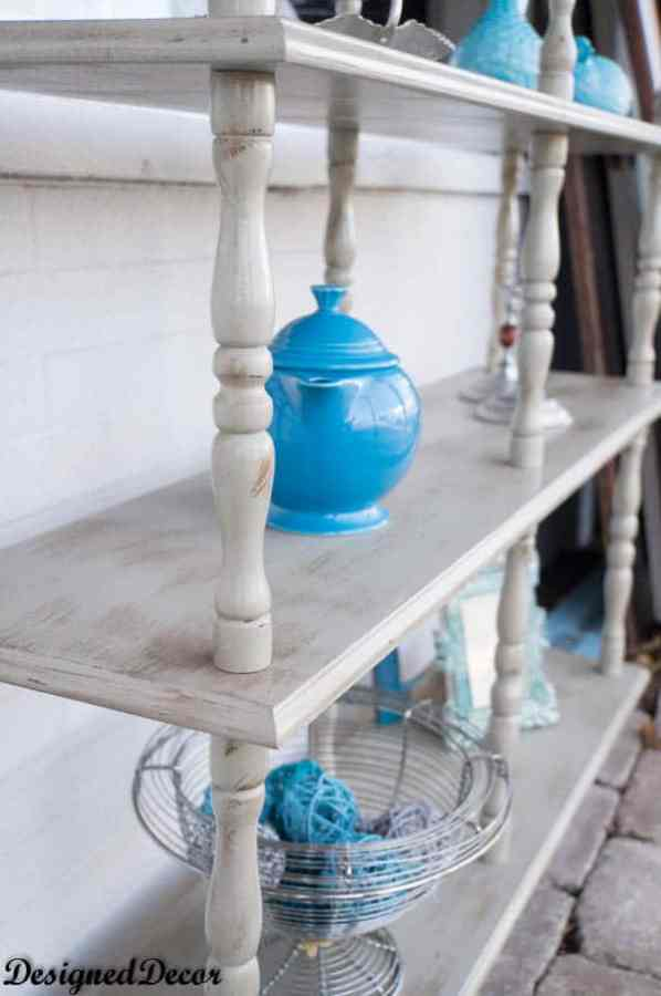 Image of a 3 tier shelf painted with light gray DIY chalk paint