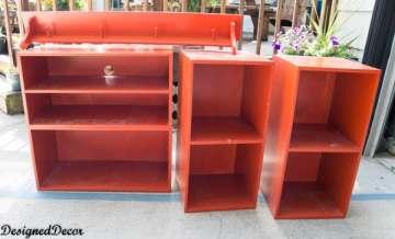 bedroom shelves before