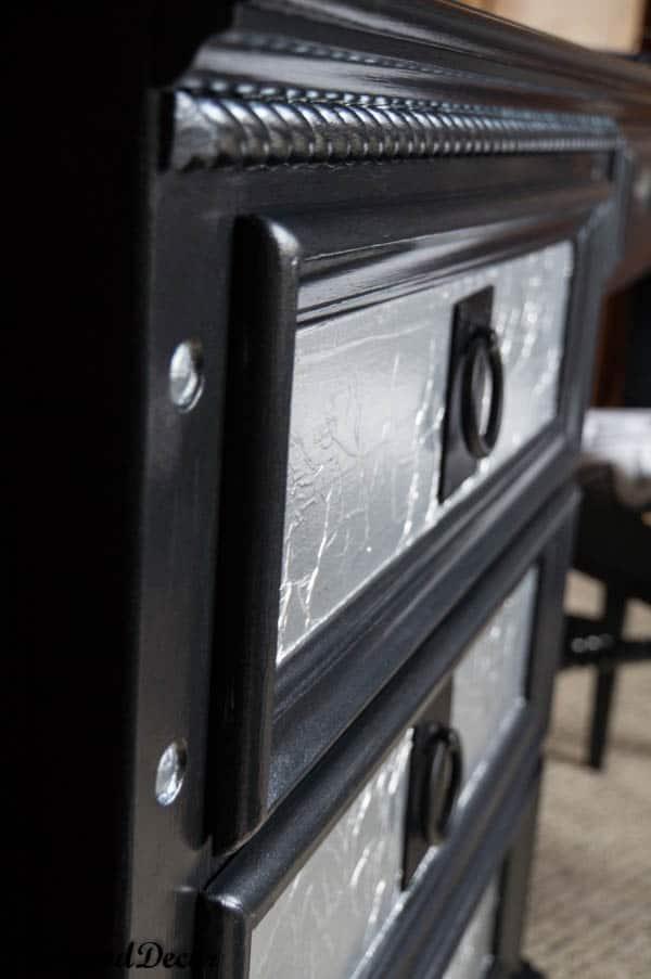 Black Desk with Aluminum Foil Drawers