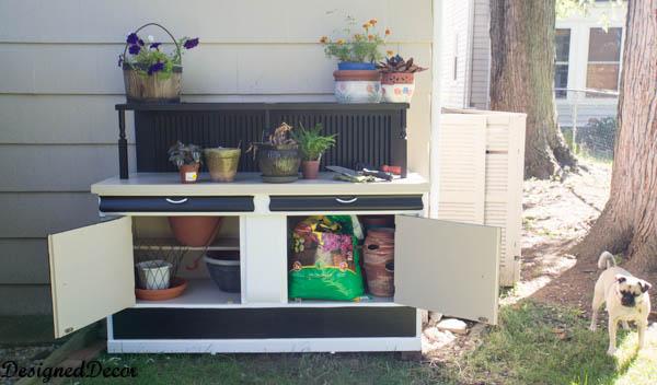 Repurposed Potting Bench-potting storage