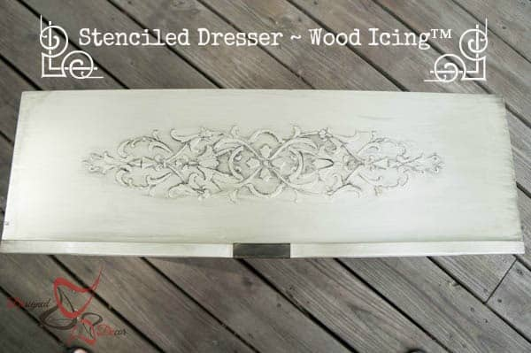 Stenciled Dresser ~ Wood Icing-pinnable