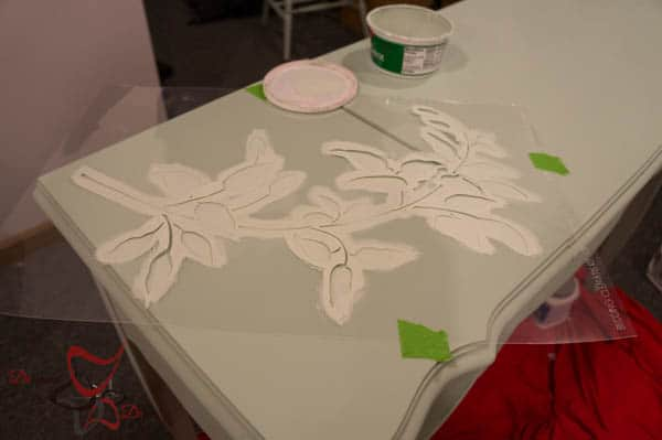 Stenciled Vanity - using a brush technique