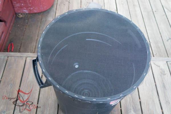 attaching screen for DIY Rain Barrel ~ Tutorial-