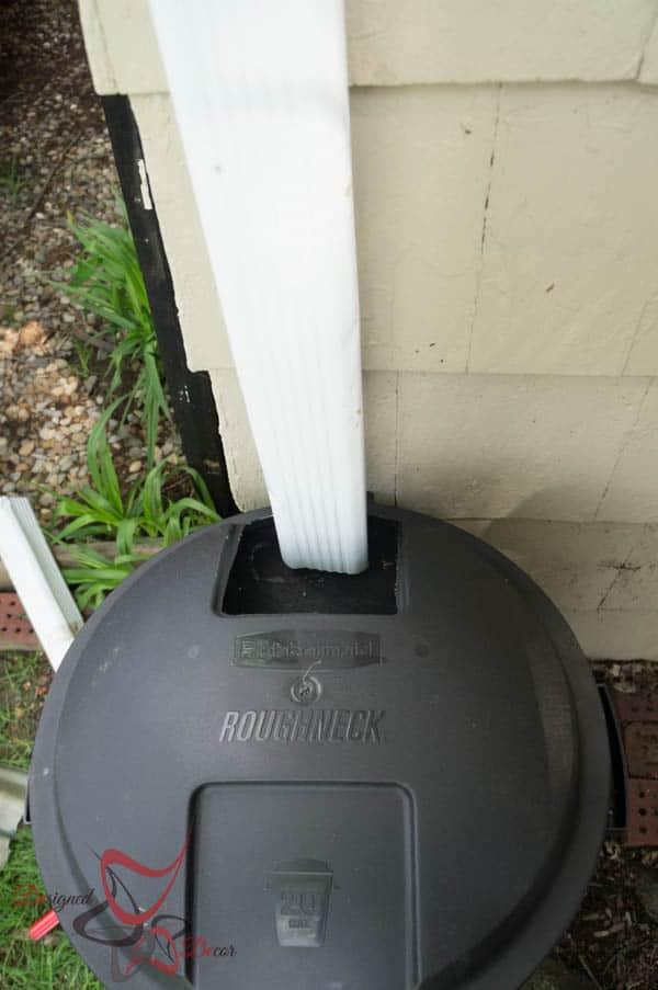 trim down spout to size of Rain Barrel ~ Tutorial-