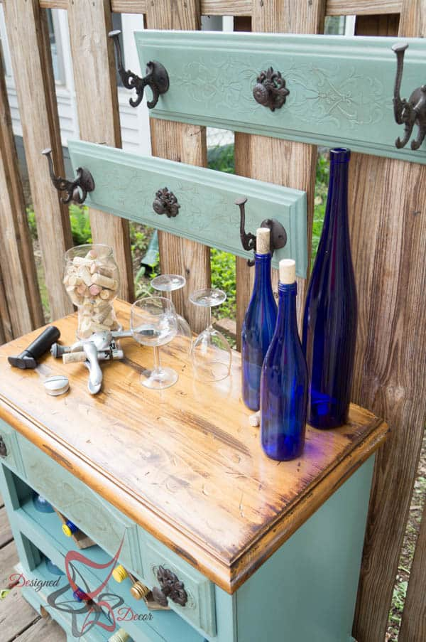 Repurposed Dresser ~ Wine Bar- Wall decor