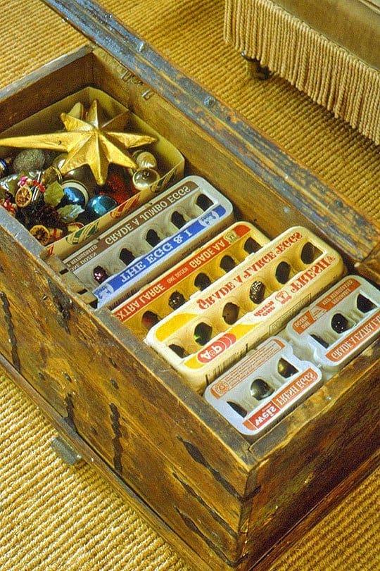egg carton ornament storage