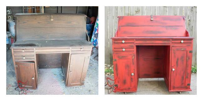 Antique Desk Before After