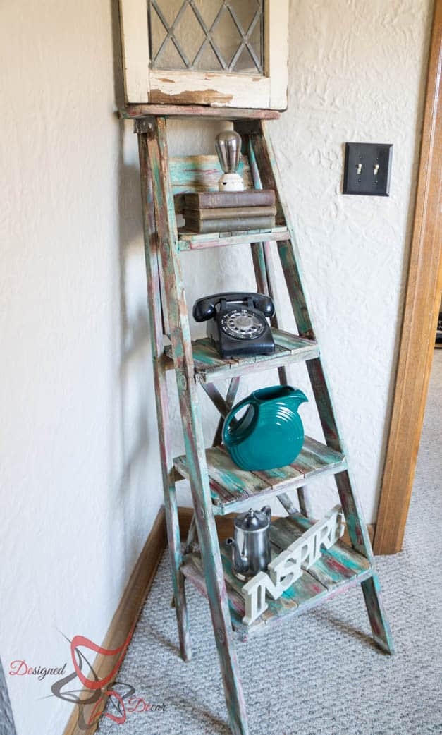 Repurposed ladder shelf shabby chic storage designed for Diy cassette shelf