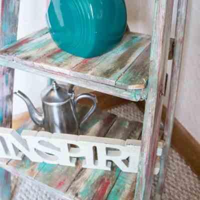 Repurposed Ladder Shelf- Shabby Chic Storage!