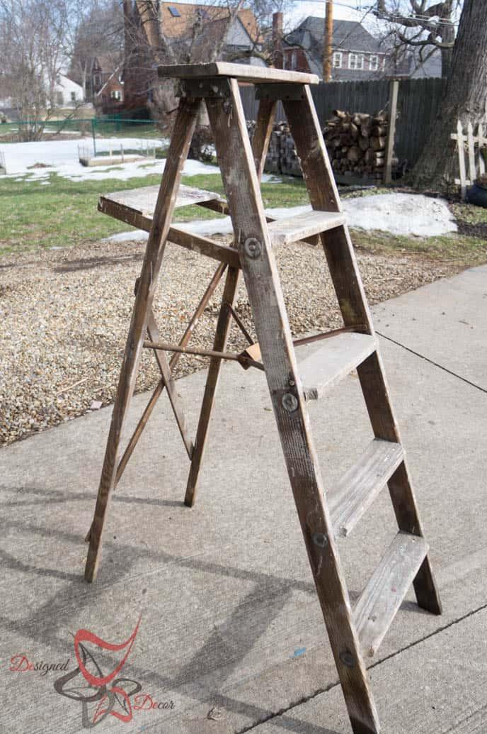 Repurposed Ladder Shelf