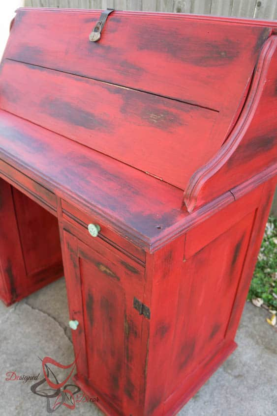 Stain over Paint Distressed Antique Desk-