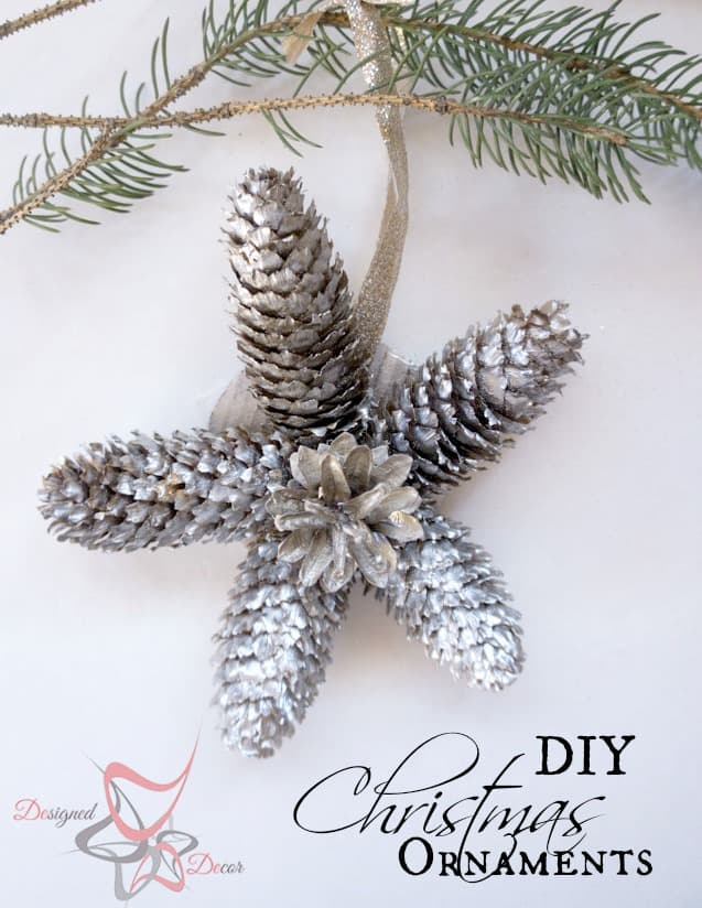 DIY-Pine Cone Christmas Ornaments-Christmas Decorating on a budget pinnable