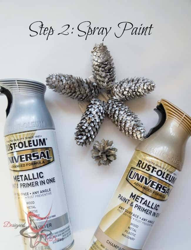 DIY-Pine Cone Christmas Ornaments-Christmas Decorating on a budget- step 2