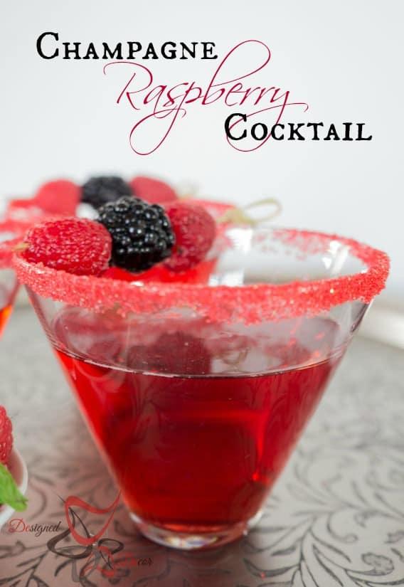 Champagne Raspberry Cocktail -pinnable