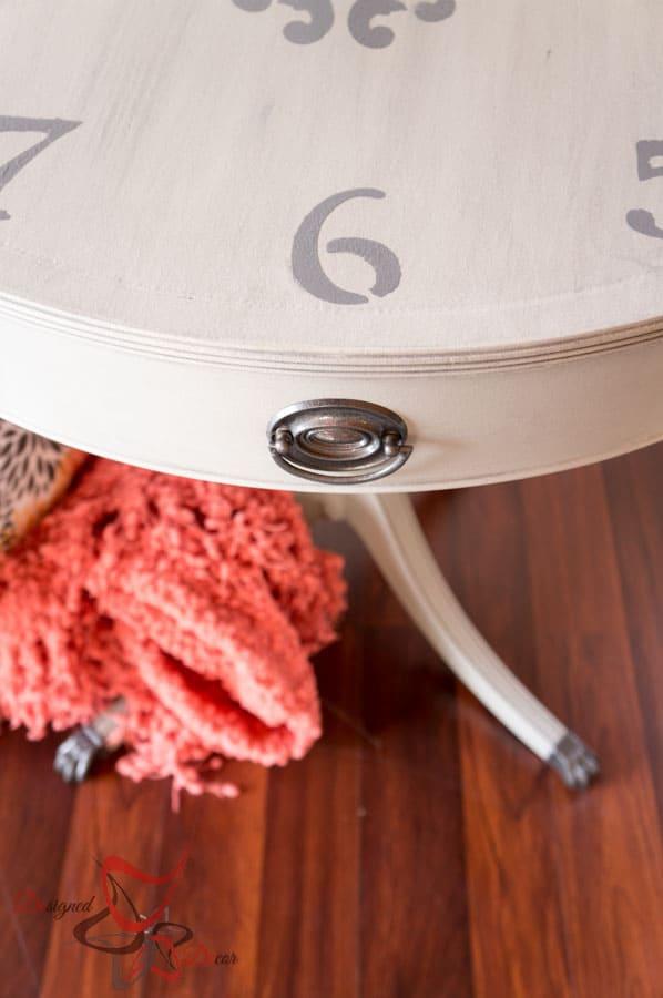 Stenciled Clock Table Designed Decor
