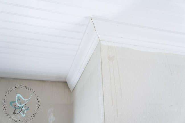 DIY Closet Makeover Beadboard Ceiling-Crown Molding-